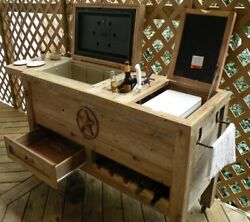 Outdoor Patio Cooler Bar - Wooden Rustic Kitchen Furniture - Grilling Prep on -