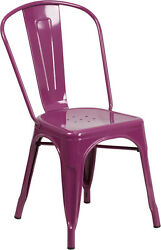 BULK DEAL 25 PURPLE METAL INOUTDOOR RESTAURANT CHAIR FURNITURE HOLD UP TO 350LB