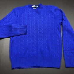 Polo Ralph Lauren 100% Cashmere Cable Knit Sweater Mens L Blue Italian Yarn PRL