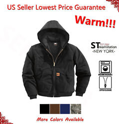 Men Sandstone Canvas Quilted Thermal Lined Duck Coat Winter Duck Jacket