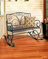 Outdoor Metal Rocking Seat Bench Patio Yard Garden Porch Home Furniture Decor