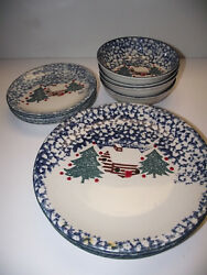 12pc 4ppl Dinner& Salad Plate & Cereal bowl Cabin In Snow Christmas Tienshan