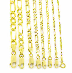 Real 14K Yellow Gold 2mm- 8mm Italian Figaro Link Chain Pendant Necklace 16