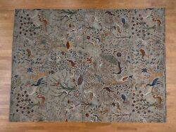 9'x12'1'' HandKnotted Birds of Paradise Pure Wool Peshawar Rug G37211