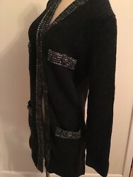 CHANEL Black Cashmere Sweater Suit Matching Skirt  Size 40