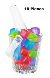 New Reusable Plastic Ice Cubes Pack of 18 Colors May Vary Free Shipping BPA $5.99