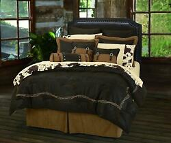 King Western Comforter Set Bedding Rustic Barb Wire Gift Chocolate Cabin NEW