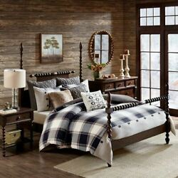 Brown & Black Plaid Urban Cabin Oversized Comforter Set AND Decorative Pillows