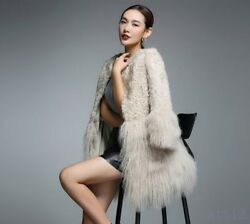 New Women 100% real Shearling Cashmere Fur Winter Warm Snow Parkas Fashion Coat