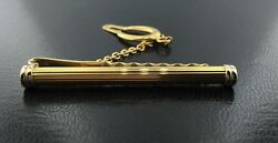 Men's 18k yellow gold tubular tie bar with button chain from Italy