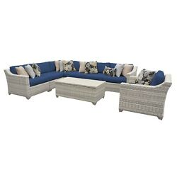 Catamaran 8-Piece Outdoor Patio Wicker Sectional Set with Arm Chair and Storage