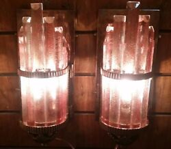 PAIR SKYSCRAPER ART DECO METRO LIGHT WALL SCONCES COPPER CAMEO GLASS SHIP LAMP
