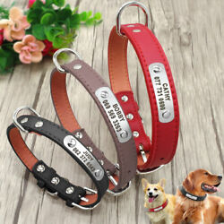 Personalized Leather Dog Collars with Custom ID Nameplate Free Engraved S M L XL $6.99