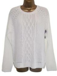 Women's White Button Back Cable Knit Jumper Sweater Size 18 & 20