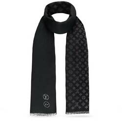 LOUIS VUITTON LV Fragment Monogram Stole Scarf Shawl Wool Silk HARAJUKU Ld Auth