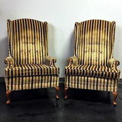 Vintage Mid Century Era Button Tufted High-Back Wing Chairs - Pair