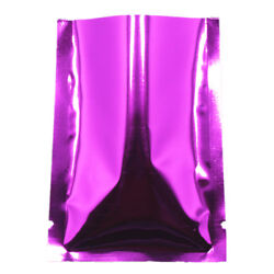 Open Top Aluminum Foil Pouch Purple Vacuumed Bags Heat Seal Food Storage Package