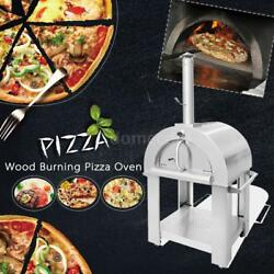 Stainless Steel Pizza Oven BBQ Grill Wood Burning Heater Outdoor Patio E6R7