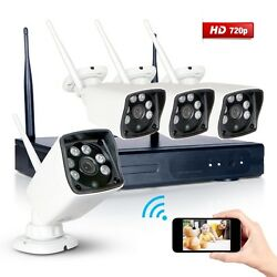 4CH NVR CCTV Surveillance Wifi System 720P HD NightVision Outdoor IP WIFI Camera
