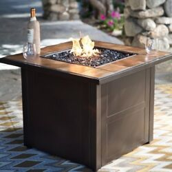 Propane Fire Pit Table Square Desert Sand Fireplace Outdoor Gas Top Patio BBQ