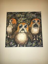 Star Wars Porg Painting on Canvas Acrylic hand painted original artwork