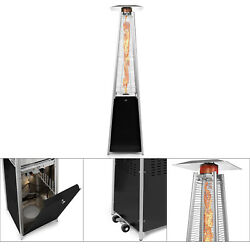 Outdoor Propane Aluminum Patio Heater with Weels LP Gas Porch Deck Heater Black