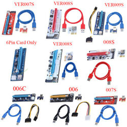 USB 3.0 PCI E Express 1x To16x GPU Extender Riser Card Adapter Power Cable lot $8.91