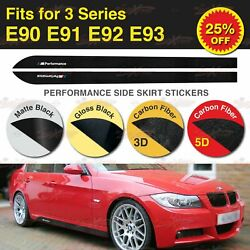 For BMW E90 E91 E92 E93 335 M Performance Side Skirt Stripe Vinyl Decal Stickers
