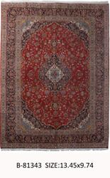 Signed 10' x 13' Persian Kashan Rugs indoor rugs Red Hand-Knotted Rug