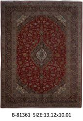 Signed 10' x 13' Persian Kashan indoor rugs Red Handmade Rug