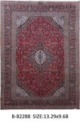 Signed 10' x 13' Persian Kashan Rugs on Sale indoor rugs Red Hand-Knotted Rug
