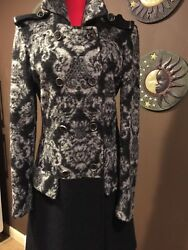 Italian coat BLACK AND WHITE 100% Wool Flower printed SIZE S