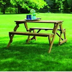 Wooden Garden Bench and Picnic Table Outdoor Furniture Sturdy Design Patio