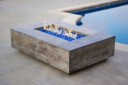 VIVID Modern Concrete Fire Table Natural Gas Fire Pit Cement w Burner 56x38x16