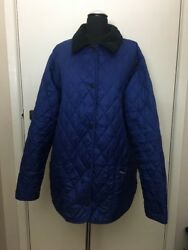Barbour Shaped Liddesdale Blue Quilted Classic Jacket Coat 18 Country VTG