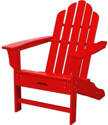 Patio Adirondack Chair Contoured Seat All Weather Hide Away Ottoman Sunset Red