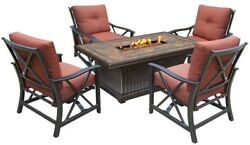 5-Piece Aluminum Patio Fire Pit Conversation Set with Red Cushions