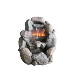 28 inch Stone Gray Faux Rock Fireplace Waterfall Outside Patio Garden Water Foun
