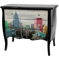 Oriental Furniture Colorful NYC Three Drawer Cabinet