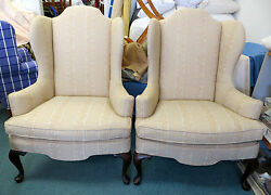 Pair of Leaf Patterned  Wing Chairs wPillows  - Can Ship