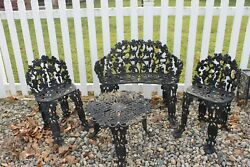 Vintage Iron GRAPE & VINE Bench 2 Chairs & Table - Ornate! 4 piece's