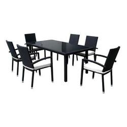7-Piece Black Resin Wicker Outdoor Furniture Patio Dining Set - White Cushions
