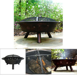 Outdoor Steel Fire Ring Bowl Camping Campfire Pit Firepit Spark Screen Di 29