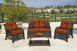 CHELSEA 4-Piece Cappuccino Resin Wicker Patio Loveseat Chairs & Table Furniture