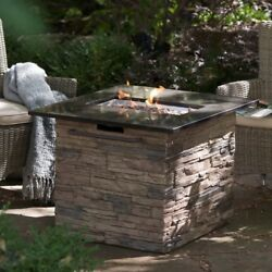Propane Fire Pit Table With Cover Fireplace Outdoor Gas Patio Backyard BBQ