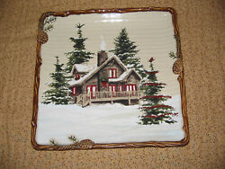 St Nicholas Square Snow Valley Dinner Plate Christmas Winter Cabin 10 12