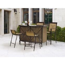 Outdoor Patio Furniture Bar Height Dining Set Wine Small Bistro 5 Piece Table
