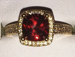 9Ct Yellow Gold Plated Princess Cut Ruby Red Cubic Zirconia Love Ring UK Stock