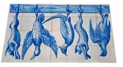 Hand Painted big old Ceramic art Tile Mural Kitchen Hunting trophy Portugal