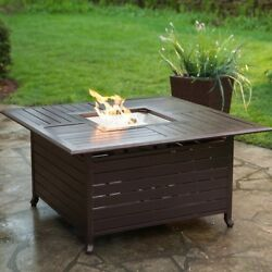 Square Propane Fire Pit Outdoor Gas Fireplace Table Top Patio Backyard BBQ Logs